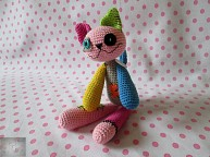 Crocheted patchwork cat